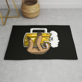 Lazy Sloth Drinking Beer Party Rug