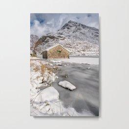 Frozen Lake Snowdonia Metal Print