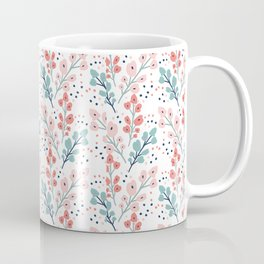 Mint and Salmon/Coral Floral Pattern Coffee Mug