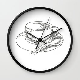 Cup of Coffee Doodle Wall Clock