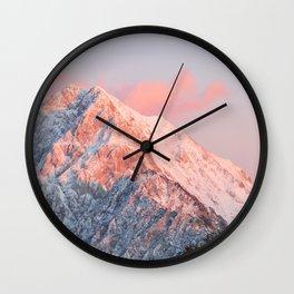 Last sun light on mountain Storžič, Slovenia Wall Clock