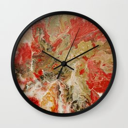 Acrylic pour abstract Red and Gold 1 Wall Clock