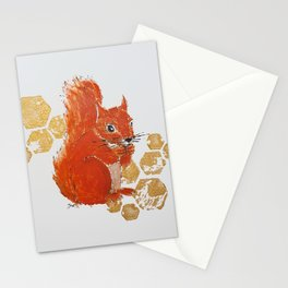 Squirrel Red & Gold Stationery Cards