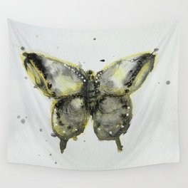Yellow and Gray Butterfly Wall Tapestry