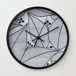 Black Leaves on Silvery Grey - II Wall Clock