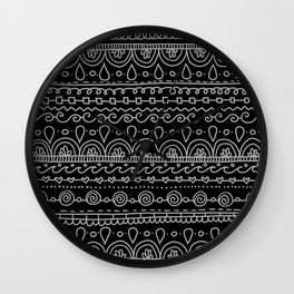 Black and White Doodle Lines Wall Clock