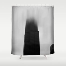 Sears Tower in Fog Chicago Black and White Photo Shower Curtain