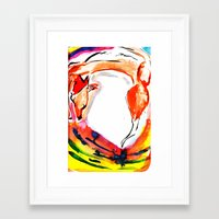kitsune Framed Art Prints featuring Kitsune by Karina Geddes Illustration