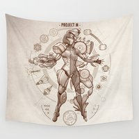 da vinci Wall Tapestries featuring Project M - Da Vinci Edition by Emilie Boisvert