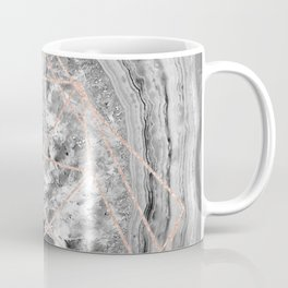 black and white agate with rose gold geometry pattern Coffee Mug