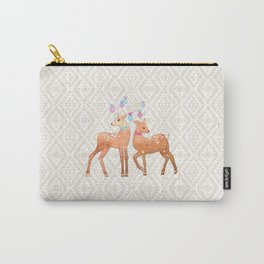 Watercolor Deer on Geometric Pattern Carry-All Pouch