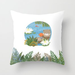 Otter in the forest Throw Pillow