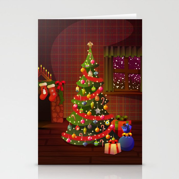 Happy Christmas Tree Stationery Cards