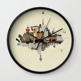 Collage City Mix 5 Wall Clock