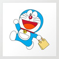 doraemon Art Prints featuring Doraemon Bring Tote Bags by Timeless-Id