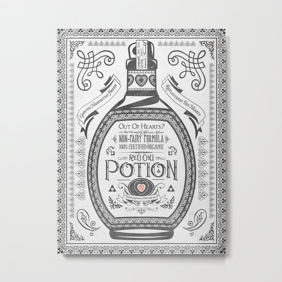 Legend of Zelda Red Potion Vintage Hyrule Line Work Letterpress Metal Print