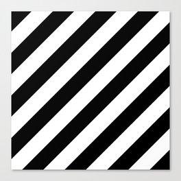 Diagonal Stripes Black & White Canvas Print
