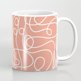 Doodle Line Art | White Lines on Coral Background Coffee Mug