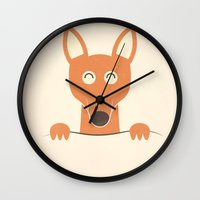 pocket Wall Clocks featuring Pocket Kangaroo by filiskun