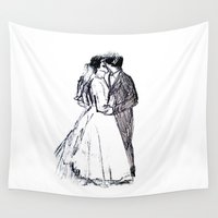 wedding Wall Tapestries featuring Wedding Kiss by VAWART