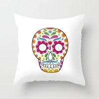 dia de los muertos Throw Pillows featuring Dia de los muertos by Studio Armad'illo