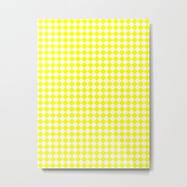 Small Diamonds - White and Yellow Metal Print