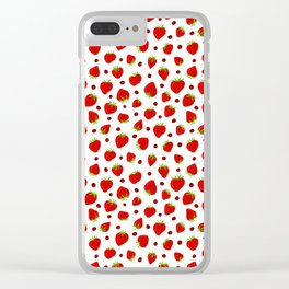 Summer Strawberries and Ladybugs Clear iPhone Case