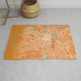 Sacramento, CA, USA, Gold, Blue, City, Map Rug