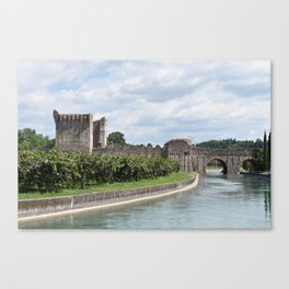 Scenic view of the Visconti bridge with vineyards Canvas Print