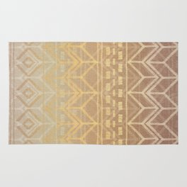 Neutral Tan & Gold Tribal Ikat Pattern Rug