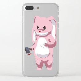 Pink Bunny Clear iPhone Case