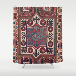 Cartouche Star // 19th Century Colorful Red Blue Western Santa Fe Cowboy Style Ornate Accent Pattern Shower Curtain