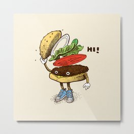 Burger Greeting Metal Print