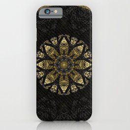 Boho chic Gold Lace Black  Flower Mandala iPhone Case