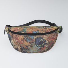 The Red Vineyards Oil Painting on Burlap by Vincent van Gogh Fanny Pack