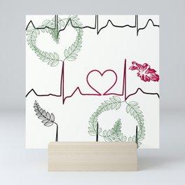 Cardiogram with heart. Mini Art Print