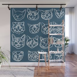 Blue and White Silly Kitty Faces Wall Mural