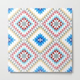 Colorful patchwork mosaic oriental kilim rug with traditional folk geometric ornament Metal Print