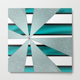 4Shades Glass: Blue B/W Reverse Metal Print