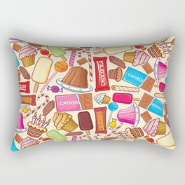 sweets seamless pattern (lollipop, candy cane, pudding in dish, birthday cake with candles) Rectangular Pillow