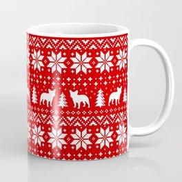 French Bulldog Silhouettes Christmas Sweater Pattern Coffee Mug