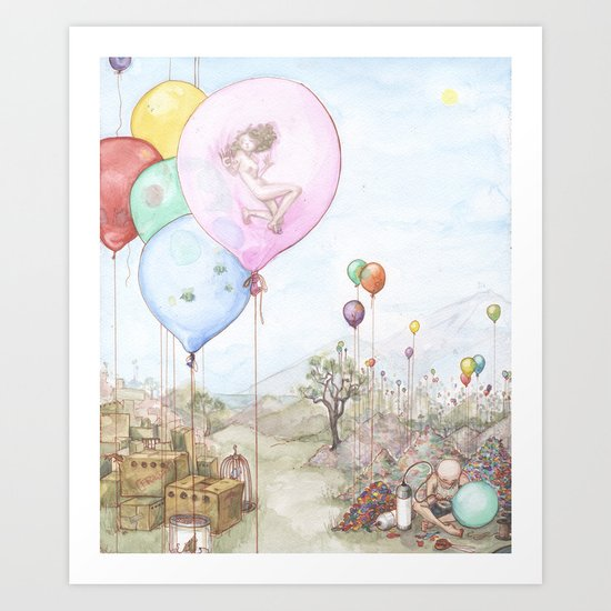 Balloon Cages Art Print