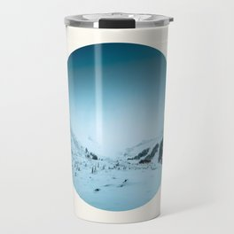 Mid Century Modern Round Circle Photo Snow Covered Winter Mountain Valley Travel Mug