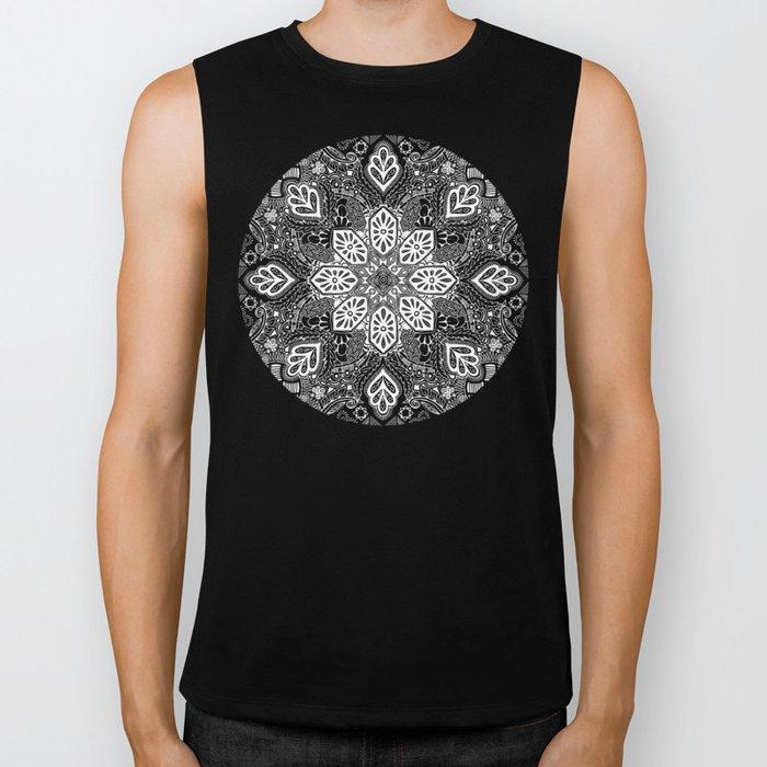 Gypsy Lace in White on Black Biker Tank