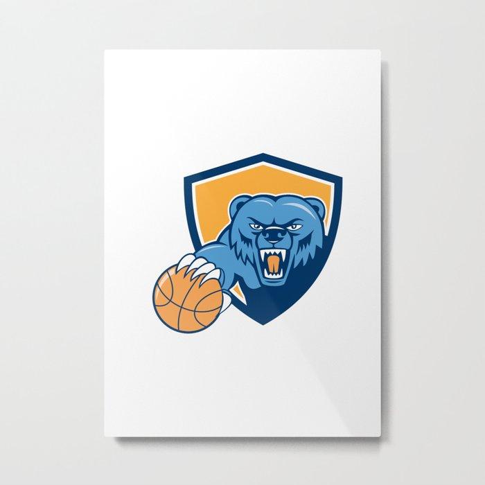 Grizzly Bear Angry Head Basketball Shield Cartoon Metal Print