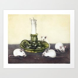Mice and candlestick Art Print