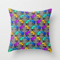 psychadelic Throw Pillows featuring Psychadelic skate dinos by Joe Schultz