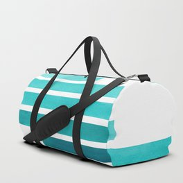 Blue Teal Turqoise Midcentury Modern Minimalist Staggered Stripes Rectangle Geometric Aztec Pattern Duffle Bag