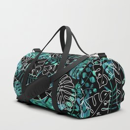 Dark tropical leaves pattern Duffle Bag