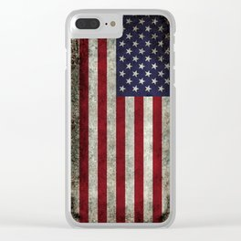 USA flag with Grungy textures Clear iPhone Case